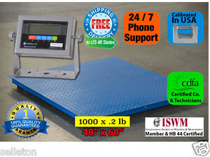 New 1000 X 2 Lb 5 x4 60 X 48 Floor Scale pallet Scale With Metal Ind