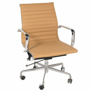 Executive Leather And Aluminum Office Chair In Brown Midcentury Modern Mid Back