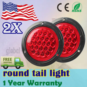 2x Red Led 4 Round Trailer Truck Stop Turn Backup Tail Light Flush Mount Lamp