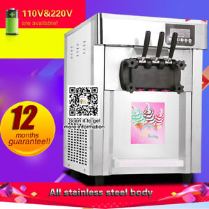 Usa Ship hot Sale Commercial 3 Flavors Soft Ice Cream Machine Soft Serve