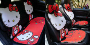 Hello Kitty Car Seat Covers Ice Silk Cute Red Front Rear Seat Cover Full Set
