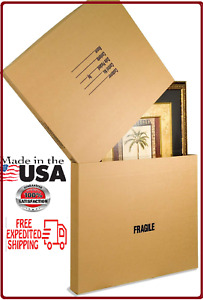 5 Pack Adjustable Moving Box Picture Mirror Tabletops Artwork Boxes 6 Pound New