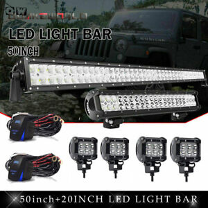 50 700w Led Light Bar Combo 20 4 4 18w Bracket Fit Jeep Wrangler Jk 07 18