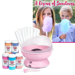 Electric Cotton Candy Machine Pink Floss Jar Paper Cones Birthday Party Kit Set