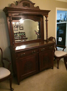 Antique Sideboard Buffet With Original Mirror
