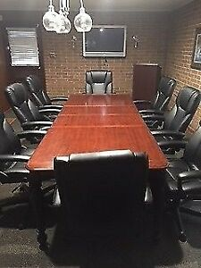 Elegant Conference Table And 8 Executive Chairs