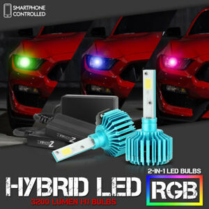 Color changing Rgb h1 Cob Led Kit Low Beam Headlight Fog Light Lamp Conversion