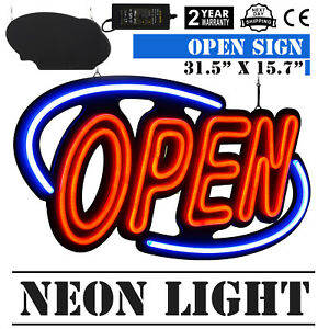 Big Horizontal 31 5x15 7 Neon Open Sign 60w Led Light Bright Fraternity Houses