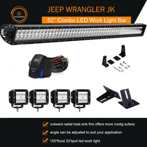 Jeep Wrangler Jk 52inch 700w Led Work Light Bar 4 Cube Pods mount Brackets 50