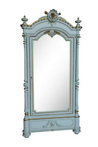 Lovely Painted French Armoire Single Mirrored Door 19th Century