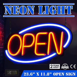 Horizontal 23 6 x11 8 Neon Open Sign 60w Led Light Window Power Adapter 60x30cm