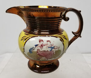 Antique Copper Luster Pitcher European Porcelain English Enamel Painted