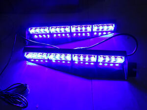 32 Led Blue Police Strobe Flash Light Dash Emergency Flashing Light 12v For Car