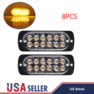 8x Amber 12 Led Strobe Light Bar Truck Hazard Beacon Flash Warn Emergency 12 24v