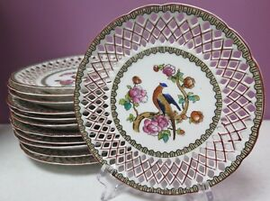 12 Vintage Victoria Austria China Plates Reticulated Handpainted Birds Flowers