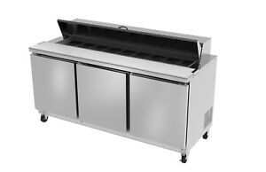 Ultra Cool 3 Doors 72 Sandwich Prep Table Cooler All Stainless 2 3 Yrs Warranty