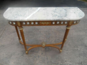 Antique French Louis Xvi Demilune Medallions Marble Top Console Sofa Table