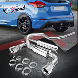 For 16 18 Ford Focus Rs 3 Racing Cat Back Exhaust System Kit W Dual Muffler Tip