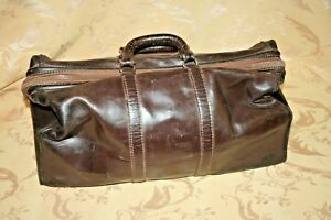 Antique 21 Long Dark Leather Doctor S Medical Bag C 1920