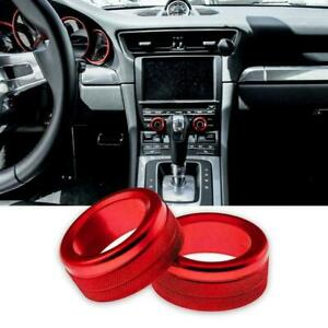 2x Red Alloy Volume Radio Switch Knob Covers For Porsche 911 Cayenne Macan 718