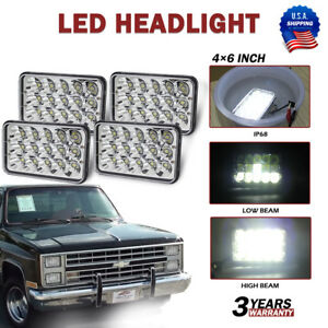 4 X6 Crystal Clear Sealed Beam Led Headlights For Chevy Pickup Truck 81 87 Ford