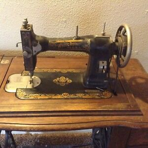 Antique Whites Rotary Sewing Machine With Cabinet Accessories