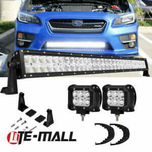 Double Row 30 32 Inch Led Light Bars For 2015 2018 Subaru Wrx Sti Front Grille