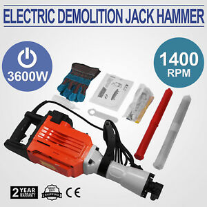 3600w Electric Demolition Jack Hammer Punch Drill Tool Point flat 2 Chisel Bits