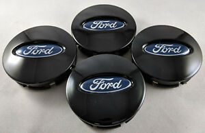 4x Ford Glossy Black Wheel Hub Center Caps Bb53 1a096 Ra Edge Explorer Fusion