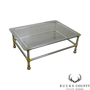 Mid Century Modern Style Chrome Brass Glass Coffee Table