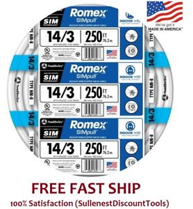Romex 250 Roll 14 3 Awg Guage Nm b Indoor Electrical Copper Wire Cable W Ground