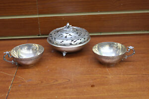Antique 800 Silver Bowl With See Thru Lid Footed Eagle Design W Matching Cups