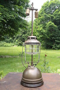 Unusual Antique Vintage Electrified Tilley Lamp Brass Lantern Double Socket