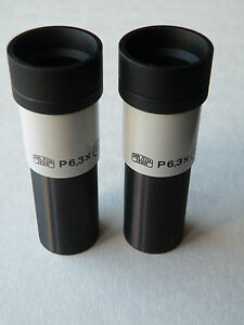 Carl Zeiss Jena Microscope P 6 3x 19 Eyepieces Pair d 23 2mm