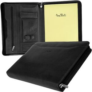 Tony Perotty A4 Zip Writing Case Leather Black Files Conference Workbook