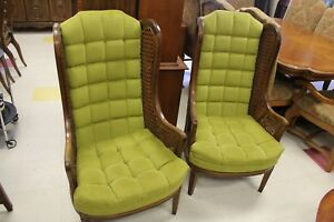 Pair Wing Back Cane Side Chairs