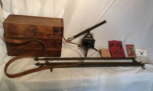 Starrett Transit Telescope W Legs Manual Vintage Antique Old Wood Carrying Case