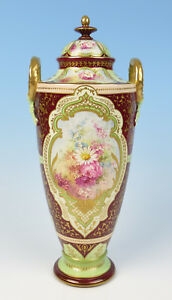 Beautiful Royal Bonn 14 Urn W Raised Gold Flowers Antique German Pottery Vase