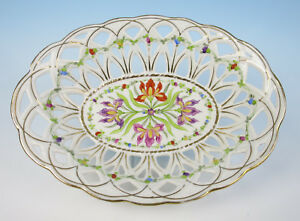Antique Reticulated German Porcelain Bowl Hand Painted Flowers Dresden Saxe Gold