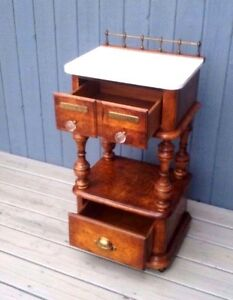 Antique Marble Topped Apothecary Table