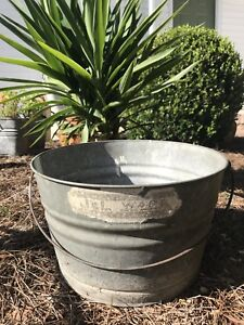 Vintage J L Ware Galvanized Metal Bucket W Handle Rustic Garden Planter