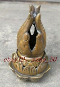 China Antique Ming Handmade Bronze Buddhism Hand Lotus Incense Burners Statue Sl