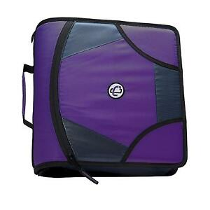 King Sized Zip Tab 4 inch D ring Zipper Binder With 5 tab File Folder Purple