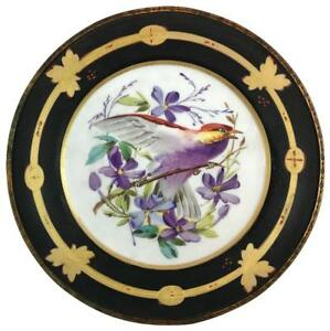 Antique 19thc Victorian Porcelain Ormolu Cold Painted Bird Floral Plate Charger