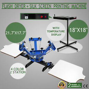 4 Color 2 Station Silk Screen Printing 18 Flash Dryer Adjustable Press Control
