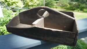 Primitive Antique Wood Tool Tray Old Patina 15 X10 Hand Made Country Decor