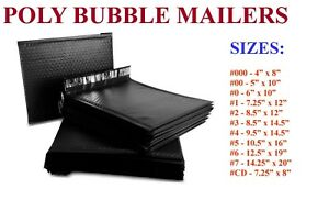 5 3000 Poly Bubble Mailers 000 00 0 cd 1 2 3 4 5 6 7 Black Bags Seal