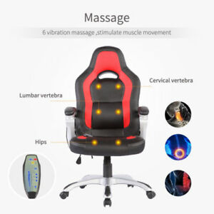 New 6 Point Racing Game Massage Chair Pu Leather Ergonomic Computer Office Chair