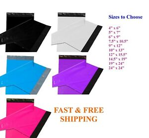 50 1000 Poly Mailers Shipping Envelopes Self Sealing Color Mailing Bags Plastic