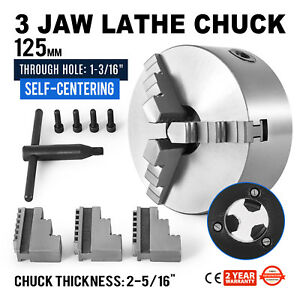 5 3 Jaw Scroll Lathe Metal Chuck Self centering Cast Iron Wood Turning 125mm